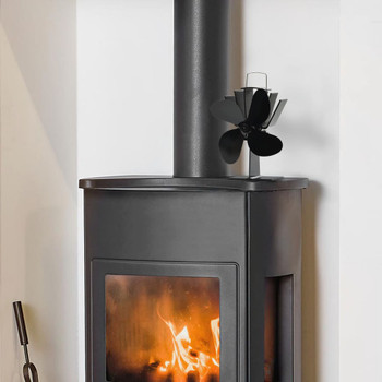 vidaXL Ventilator za peć na toplinski pogon s 4 lopatice crni