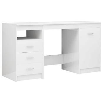 vidaXL Radni stol visoki sjaj bijeli 140 x 50 x 76 cm od iverice