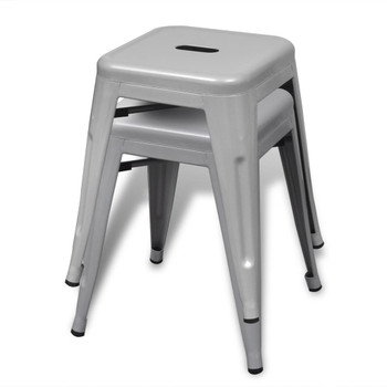 vidaXL Složivi stolci 4 kom sivi čelični