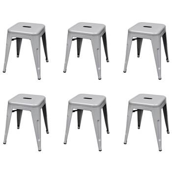 vidaXL Složivi stolci 6 kom sivi čelični