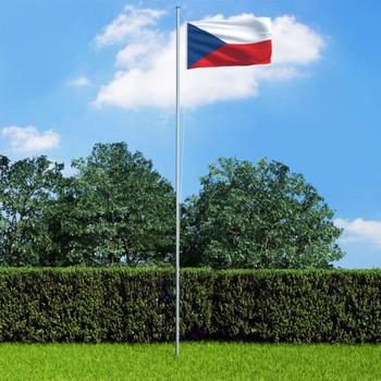 vidaXL Češka zastava s aluminijskim stupom 6,2 m