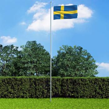 vidaXL Švedska zastava s aluminijskim stupom 6,2 m