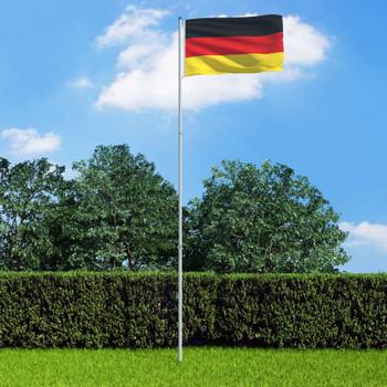 vidaXL Njemačka zastava s aluminijskim stupom 6 m