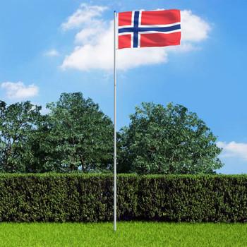 vidaXL Norveška zastava s aluminijskim stupom 6 m