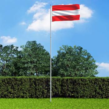 vidaXL Austrijska zastava s aluminijskim stupom 6 m
