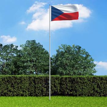 vidaXL Češka zastava s aluminijskim stupom 6 m