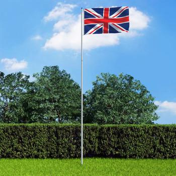 vidaXL Zastava Ujedinjenog Kraljevstva s aluminijskim stupom 6 m