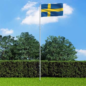 vidaXL Švedska zastava s aluminijskim stupom 6 m