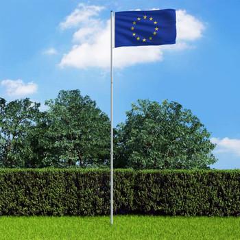 vidaXL Europska zastava s aluminijskim stupom 6 m