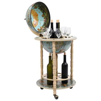 vidaXL Barski stalak za vino u obliku globusa od drva eukaliptusa plavi