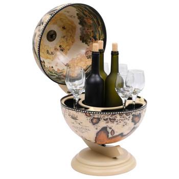 vidaXL Stolni stalak za vino u obliku globusa drvo eukaliptusa bijeli