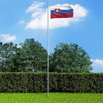 vidaXL Slovačka zastava s aluminijskim stupom 6,2 m
