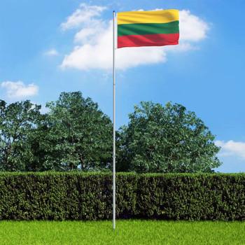 vidaXL Litavska zastava s aluminijskim stupom 6 m