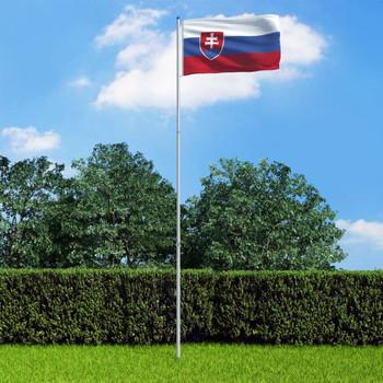 vidaXL Slovačka zastava s aluminijskim stupom 6 m