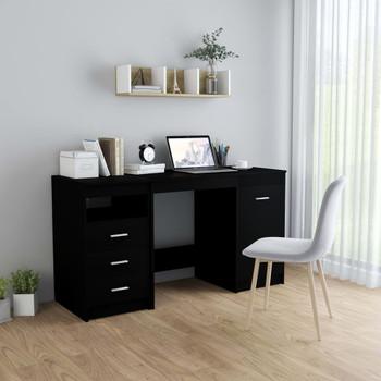 vidaXL Radni stol crni 140 x 50 x 76 cm od iverice