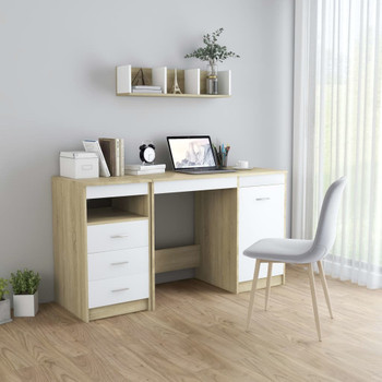 vidaXL Radni stol bijeli i boja hrasta 140 x 50 x 76 cm od iverice