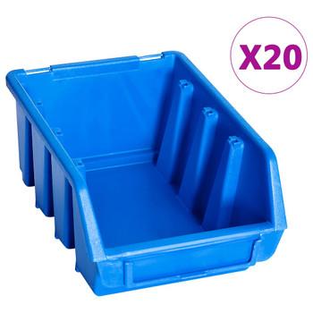 vidaXL Složive kutije za pohranu 20 kom plave plastične