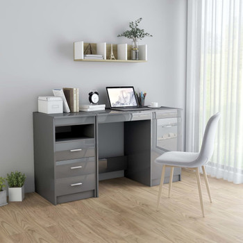 vidaXL Radni stol visoki sjaj sivi 140 x 50 x 76 cm od iverice