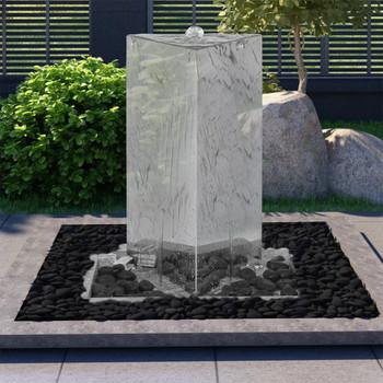 vidaXL Vrtna fontana s crpkom od nehrđajućeg čelika 76 cm trokutasta