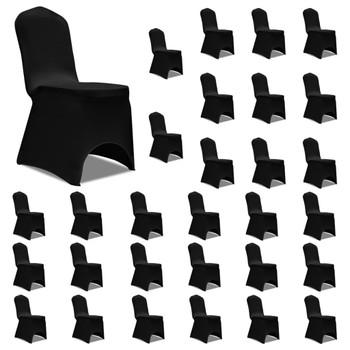 vidaXL Navlake za stolice rastezljive crne 30 kom
