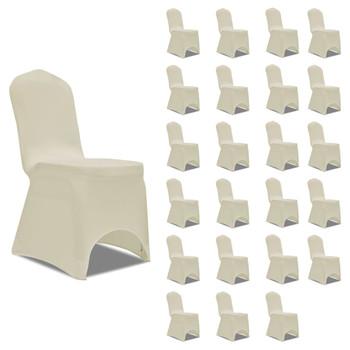 vidaXL Navlake za stolice rastezljive krem 24 kom