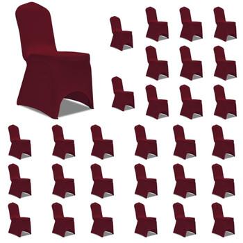 vidaXL Navlake za stolice rastezljive bordo 30 kom