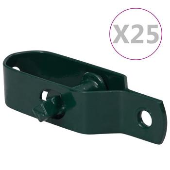 vidaXL Zatezači za žicu za ogradu 25 kom 100 mm čelični zeleni
