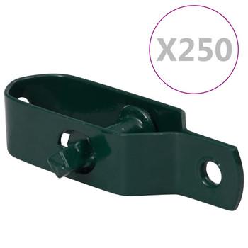 vidaXL Zatezači za žicu za ogradu 250 kom 100 mm čelični zeleni
