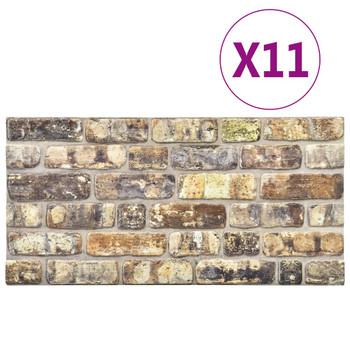 vidaXL 3D zidni paneli s uzorkom raznobojnih cigli 11 kom EPS