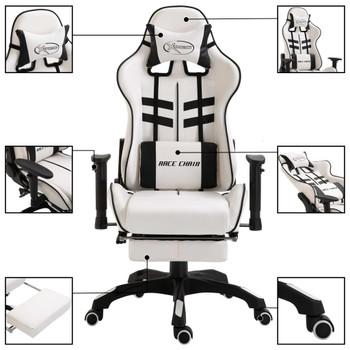 vidaXL Igraća stolica od umjetne kože s osloncem za noge crna