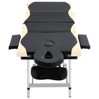 vidaXL Sklopivi masažni stol s 4 zone aluminijski crno-bež