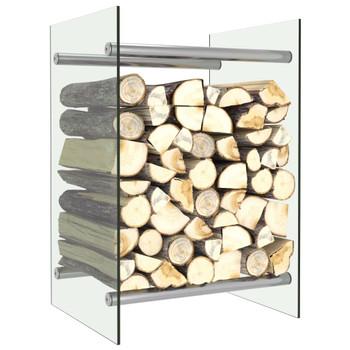 vidaXL Stalak za drva za ogrjev prozirni 40 x 35 x 60 cm stakleni