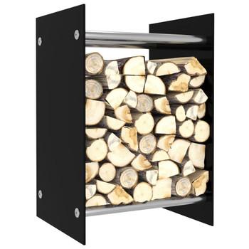 vidaXL Stalak za drva za ogrjev crni 40 x 35 x 60 cm stakleni