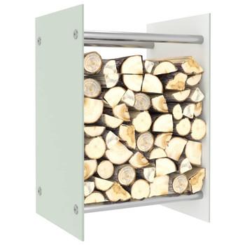 vidaXL Stalak za drva za ogrjev bijeli 40 x 35 x 60 cm stakleni