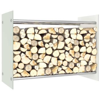vidaXL Stalak za drva za ogrjev bijeli 80 x 35 x 60 cm stakleni