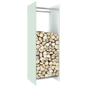 vidaXL Stalak za drva za ogrjev bijeli 40 x 35 x 120 cm stakleni