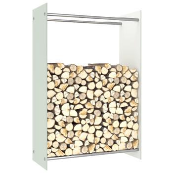 vidaXL Stalak za drva za ogrjev bijeli 80 x 35 x 120 cm stakleni