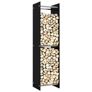 vidaXL Stalak za drva za ogrjev crni 40 x 35 x 160 cm stakleni
