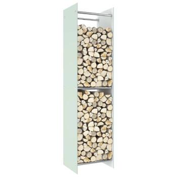 vidaXL Stalak za drva za ogrjev bijeli 40 x 35 x 160 cm stakleni