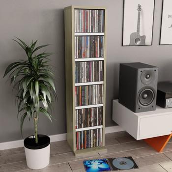 vidaXL Ormarić za CD-ove bijeli i boja hrasta 21x20x88 cm od iverice