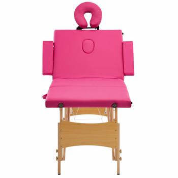 vidaXL Sklopivi masažni stol s 4 zone drveni ružičasti