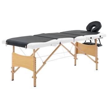 vidaXL Sklopivi masažni stol s 4 zone drveni crno-bijeli