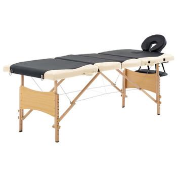 vidaXL Sklopivi masažni stol s 4 zone drveni crno-bež