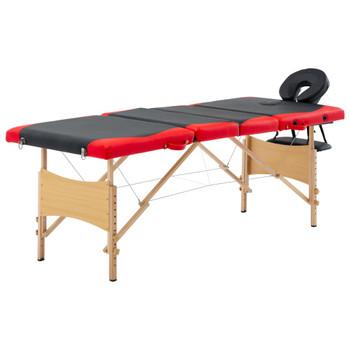 vidaXL Sklopivi masažni stol s 4 zone drveni crno-crveni