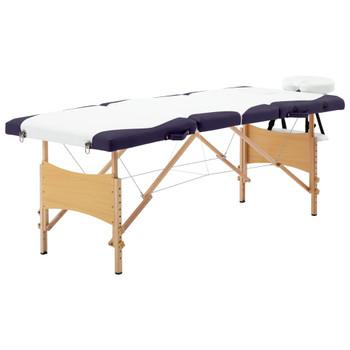 vidaXL Sklopivi masažni stol s 4 zone drveni bijelo-ljubičasti