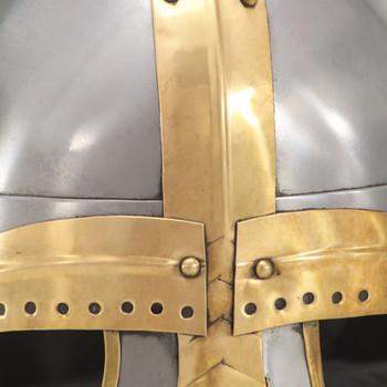 vidaXL Antikna replika srednjovjekovne kacige za LARP srebrna čelična