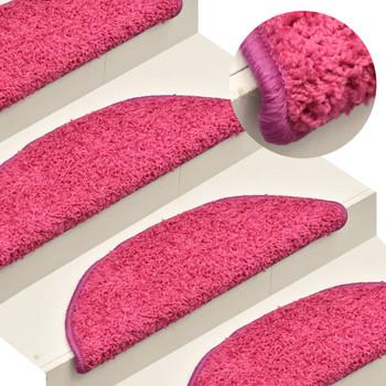 vidaXL Tepisi za stepenice 15 kom ružičasti 65 x 21 x 4 cm