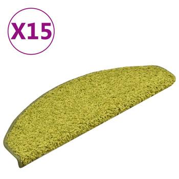 vidaXL Tepisi za stepenice 15 kom zeleni 65 x 21 x 4 cm
