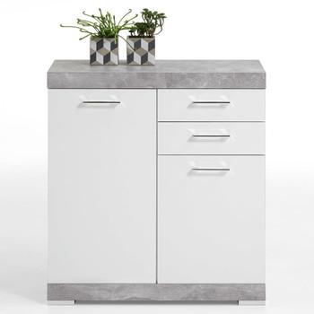 FMD ormarić s 2 vrata i 2 ladice 80x34,9x89,9 cm boja betona i bijela