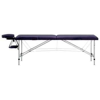 vidaXL Sklopivi masažni stol s 2 zone aluminijski ljubičasti